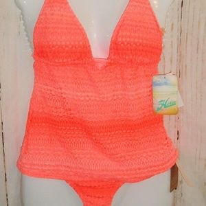 Hobie Swimsuit 2 Pc Orange Crochet Ombre Tankini S